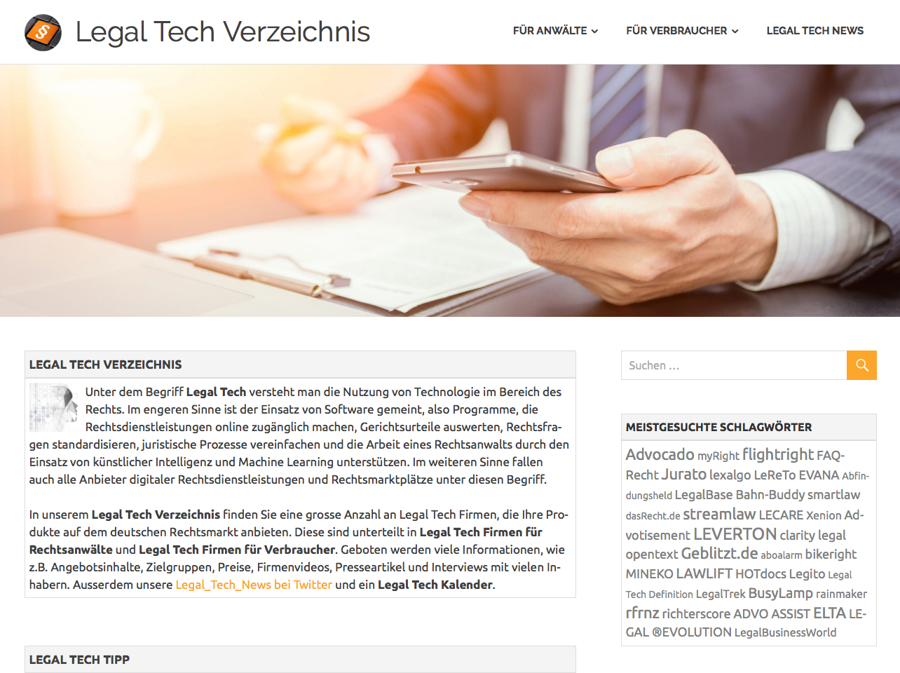 Screenshot Legal Tech Verzeichnis Presse