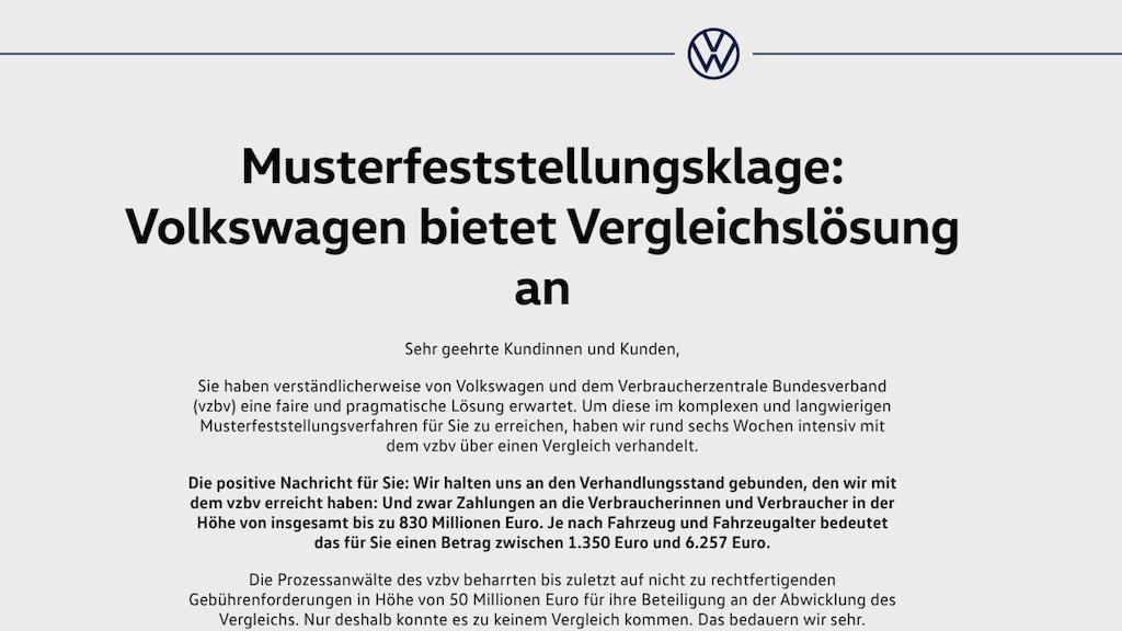 Musterfeststellungsklage Volkswagen