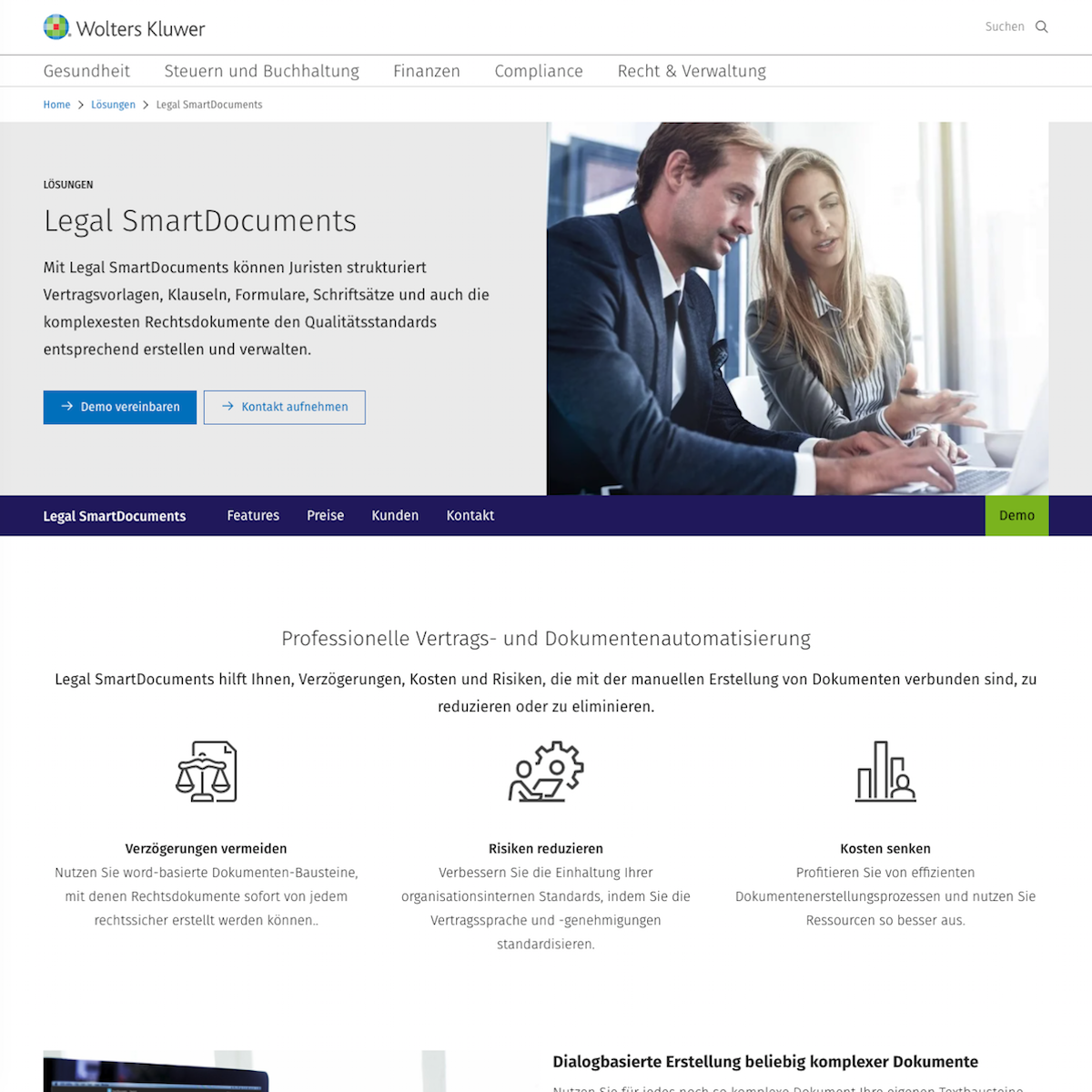Legal SmartDocuments Webseite