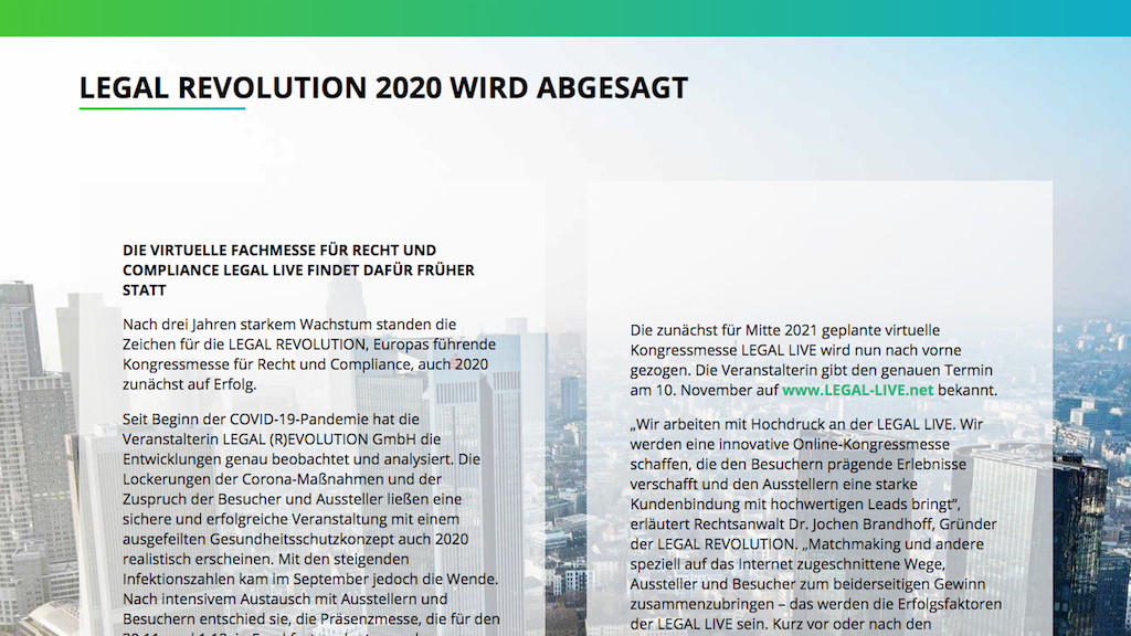 Legal Revolution 2020 abgesagt