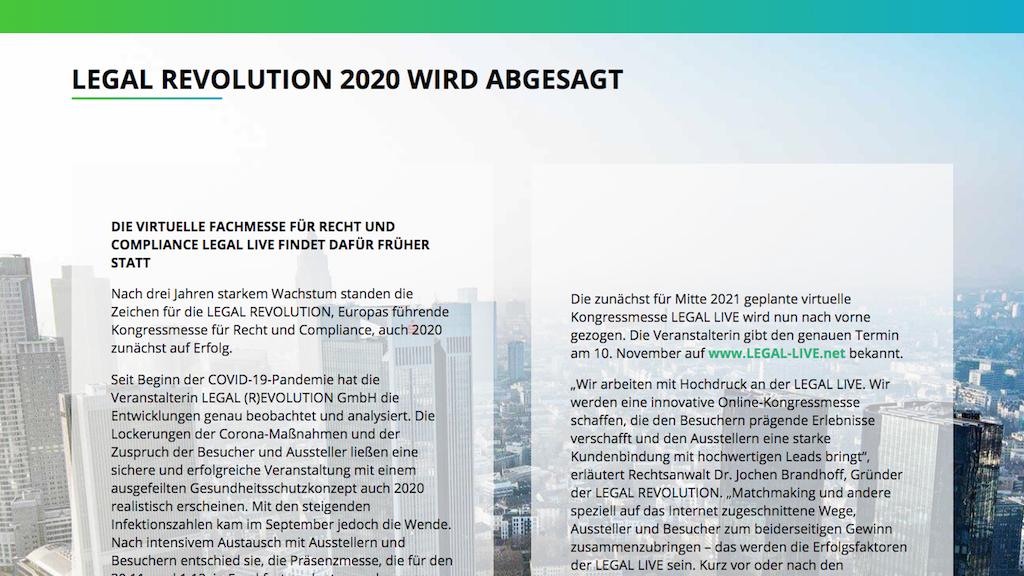 Legal Revolution 2020 abgesagt