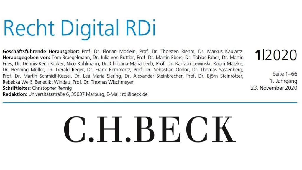 Recht Digital RDi Zeitschrift
