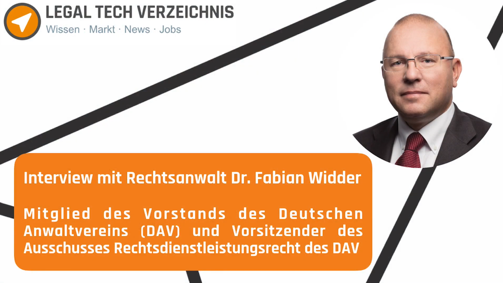Interview mit Dr. Fabian Widder vom DAV über Legal Tech Inkassodienstleistungen